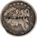 B.C. HOFF on an 1835 Capped Bust dime, JR-3. Brunk H-674, Rulau NY-Sy 11D. Host coin Fine.