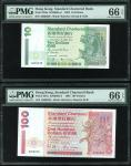 1993年渣打银行10元及100元,相同趣味号A000238,均评PMG 66EPQ。Standard Chartered Bank, a pair of $10 and $100 notes, 1.
