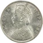BIKANIR: Ganga Singh, 1887-1912, AR rupee, 1892, KM-72, with portrait of Queen Victoria, PCGS graded