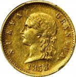 COLOMBIA. 1858/46 2 Pesos. Popayán mint. Restrepo 204.2. AU-58 (PCGS).