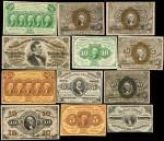 Lot of (12) Fractionals. 3 to 50 Cents. First, Second, & Third Issue. About Uncirculated or Better.