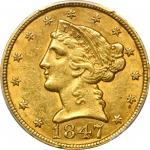 1847 Liberty Head Half Eagle. FS-302. Misplaced Date. AU-58 (PCGS).