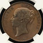 GREAT BRITAIN Victoria ヴィクトリア(1837~1901) Penny 1854 NGC-MS62BN AU