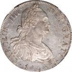 1808-Mo TH年墨西哥双柱壹圆银币。墨西哥城铸币厂。查理四世。 MEXICO. 8 Reales, 1808-Mo TH. Mexico City Mint. Charles IV. NGC M