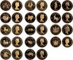 香港1976至1987年十二生肖精装$1000金币全套,包括1975及1986年英国皇室访港$1000金币2枚,连原装的棕色盒及证书。Hong Kong, a full set of Gold Pro