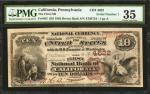 California, Pennsylvania. $10 1882 Brown Back. Fr. 485. The First NB. Charter #4622. PMG Choice Very