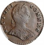 1787 Connecticut Copper. Miller 1.1-A, W-2700. Rarity-3. Mailed Bust Right, Small Head, ETLIB INDE.