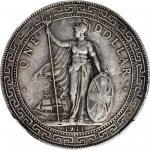1911-B年英国贸易银元站洋壹圆银币。孟买铸币厂。 GREAT BRITAIN. Trade Dollar, 1911-B. Bombay Mint. NGC VF-35.
