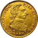 COLOMBIA. 1766/5-JV 2 Escudos. Santa Fe de Nuevo Reino (Bogotá) mint. Carlos III (1759-1788). Restre