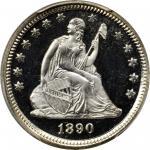 1890 Liberty Seated Quarter. Proof-68 Deep Cameo (PCGS).