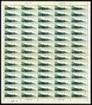 1962年特50中国古代建筑桥新票75枚全张1套,正面颜色鲜豔,边纸完整,原胶,背胶微黄,中间横向折版,上中品,少见