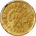 Undated (1834-1837) Christopher Bechtler $5 Gold. K-19. Rarity-6+. 140.G., 20 CARATS, AUGUST 1, 1834