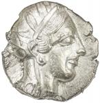 ATHENS 40ATTICA41: 440-404 BC, AR tetradrachm 4017。16g41, S-2526, helmeted bust of Athena right // o