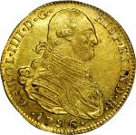COLOMBIA. 1796-JJ 4 Escudos. Santa Fe de Nuevo Reino (Bogotá) mint. Carlos IV (1788-1808). Restrepo
