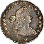 1805 Draped Bust Half Dollar. O-109a, T-14. Rarity-4-. EF-45 (NGC).