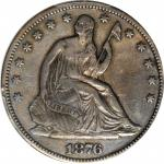 1876-CC Liberty Seated Half Dollar. WB-23. Rarity-4. Repunched Date, Medium CC. EF Details--Cleaned