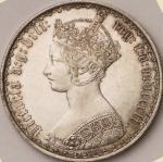 英国 (Great Britain) ヴィクトリア女王像 ゴシックタイプ 1フローリン銀貨 1852 KM746.1 / Victoria Gothic 1 Florin (2 Shillings)