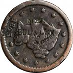 N.Y. / E.E. BULKLEY on an 1845 Braided Hair large cent with Bulkley double stamped. Brunk B-1285, Ru