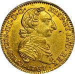 COLOMBIA. 1767-JV 2 Escudos. Santa Fe de Nuevo Reino (Bogotá) mint. Carlos III (1759-1788). Restrepo