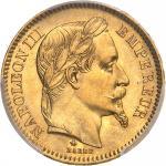FRANCE Second Empire / Napoléon III (1852-1870). 20 francs tête laurée 1865, A, Paris.