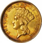 1854 Three-Dollar Gold Piece. AU Details--Cleaned (PCGS).