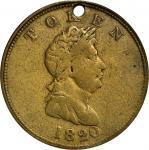 1820 North West Company Token. W-9250. Rarity-4. Brass. VF-20 (PCGS).