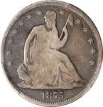 1875-S Liberty Seated Half Dollar. WB-19. Rarity-5. Micro S. Good-6 (PCGS).