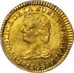 COLOMBIA. 1845-UM 2 Pesos. Popayán mint. Restrepo 202.11. MS-61 (PCGS).