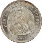 CHILE. Peso, 1881-So. NGC MS-65.