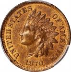 1870 Indian Cent. Bold N. Snow-1, FS-101. Doubled Die Obverse, Repunched Date, Doubled Die Reverse.
