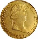 MEXICO. War of Independence. 8 Escudos, 1821-Ga FS. Guadalajara Mint. Ferdinand VII. NGC AU-58.