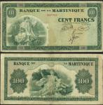 Martinique, Banque de la Martinique, 100 francs, no date (1942), serial number C82 703, green, alleg