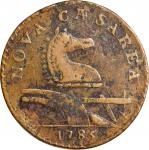 1786 New Jersey Copper. Maris 15-J, W-4815. Rarity-4. Wide Shield, Leaning Head. EF-40, Rough.