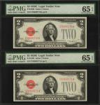 Lot of (2) Fr. 1506. 1928E $2  Legal Tender Notes. PMG Gem Uncirculated 65 EPQ. Consecutive.