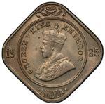 BRITISH INDIA: George V, 1910-1936, 2 annas, 1925(c), KM-516, S&W-8.240, a wonderful example! PCGS g