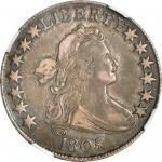 1805 Draped Bust Half Dollar. O-108, T-9. Rarity-4+. VF-35 (NGC).