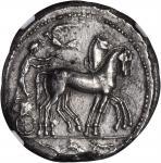 SICILY. Syracuse. Second Democracy, 466-406 B.C. AR Tetradrachm (16.71 gms), ca. 466-460 B.C. NGC Ch