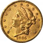 1865 Liberty Head Double Eagle. Repunched Date. AU-55 (PCGS).