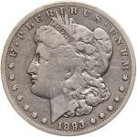 1893-CC Morgan Dollar. PCGS VG10