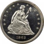 1863 Liberty Seated Quarter. Briggs 4-D. Proof-66 Cameo (PCGS).