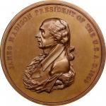 1809 James Madison Indian Peace Medal. Bronze. First Size. First Reverse. Julian IP-5, Prucha-40. MS