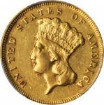 1871 Three-Dollar Gold Piece. AU-53 (PCGS).