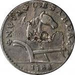 1788 New Jersey Copper. Maris 77-dd, W-5535. Rarity-3. Horse's Head Right, Running Fox Before Legend
