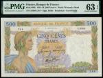 x Banque de France, 500 francs, 1942, multicoloured, maiden at left, floral background, signatures o