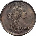 1804 Draped Bust Half Cent. C-12. Rarity-2. Crosslet 4, Stemless Wreath. MS-63 BN (PCGS).