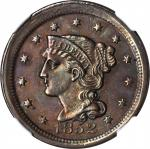 1852 Braided Hair Cent. Unc Details--Cleaned (NGC).