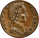 1787 Nova Eborac copper. W-5755. Medium Bust, Seated Figure Left. AU-55 (PCGS).