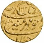 MUGHAL: Aurangzeb, 1658-1707, AV mohur 4010。92g41, Khujista Bunyad, AH1112 year 44, KM-315。30, coupl