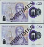 Bank of England, Sarah John, polymer £20, ND (20 February 2020), serial number AA01 000049/50, purpl