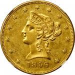 1846 Liberty Head Eagle. MS-61 (NGC).